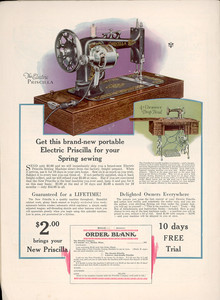 Advertisement for sewing machines, manufactured by the Priscilla Company, Boston, Mass., 1928