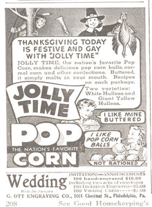 Advertisement for Jolly Time Popcorn, unknown manufacturer, 1943