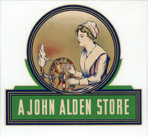 "Decal for ""A John Alden Store,"" The Meyercord Co., Chicago, Illinois, undated"