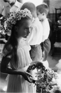 Girl with wreath, Webster, N.H., 1955