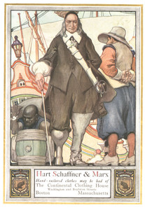 Trade card for Hart, Schaffner and Marx hand-tailored clothes at the Continental Clothing House, Boston, Mass., undated