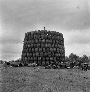 Bonfire barrels, Deerfield, Mass., 1955