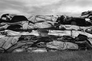 Crushed cars, Morrisville, Vermont, 1971
