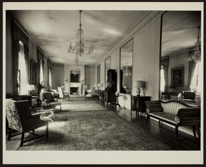 Women's City Club, 39-40 Beacon Street, Boston, Mass., unidentified room with chandeliers and mirrors, mid-1960s