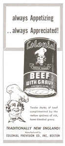 Advertisement for tinned beef, canned by Colonial Provision Company, Boston, Mass., 1948