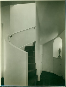 Interior view of the Theodore T. Miller House, spiral staircase, Belmont, Mass., undated