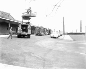 Bus way and Baker Ave., Wonderland Station, looking north
