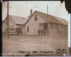 Ferry St. horse car barn, with horse car no. 110