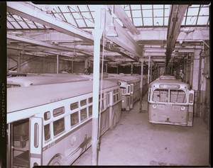 """Park St. """"C.H."""" trolley with buses and hacks, """"three weeks of T. T. operation remaining."""""""