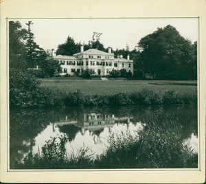 Exterior view of Lyman Estate, Waltham, Mass., from across grounds and pond