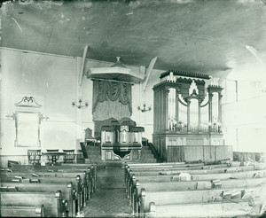 Interior of Old Ship Church, Hingham, before restoration and with 18th century pulpit.