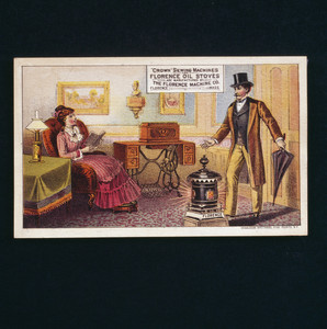 Trade card for Crown Sewing Machines and Florence Oil Stoves, manufactured by Florence Machine Company, Florence, Mass., undated