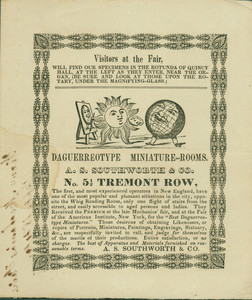 Handbill for A.S. Southworth and Company, daguerreotype, miniature rooms, No. 5 1/2 Tremont Row, Boston, Mass., 1844