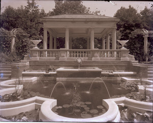 Mrs. Evans pool, fountain and summer house