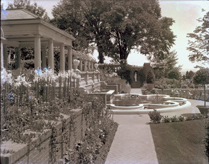 Mrs. Evans garden pool niche, terraces, and summer house