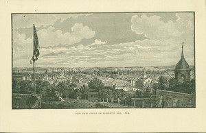 "Frontispiece from the book, Memorial History of Boston, ""View from Cotton or Pemberton Hill, 1816"""