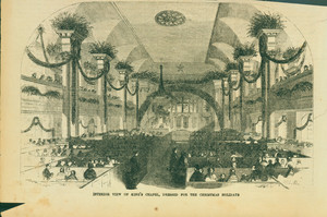 Interior View of King's Chapel, Dressed for the Christmas Holidays