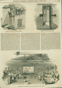 View of the Watch Box in the Prison, View of a Cell in the Prison, and Stone-Cutting Department of the Massachusetts State Prison