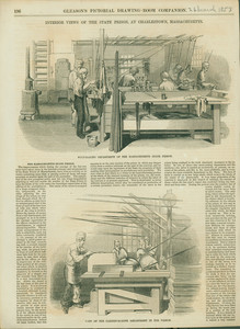 Interior views of the State Prison, at Charlestown, Massachusetts, with Whip-Making Department of the Massachusetts State Prison and View of the Cabinet-Making Department in the Prison