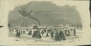 Scene on the ice, Boston Harbor, citizens hauling the ferry-boat