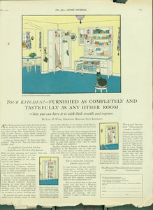 """Advertisement from the Ladies Home Journal, """"Your Kitchen! Furnished Tastefully..."""""""