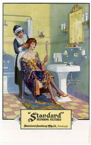 Advertisement for Standard Plumbing Fixtures, Standard Sanitary Manufacturing Company, Pittsburgh, featuring a maid arranging a woman's hair in her bathroom