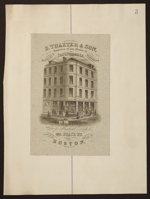 S. Thaxter & Son, Importers of and Dealers in Nautical & Surveying Instruments, Charts, Nautical Books, &c., 125 State St. corner of Broad St., Boston