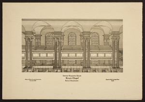 Interior perspective sketch, King's Chapel, Boston, Massachusetts