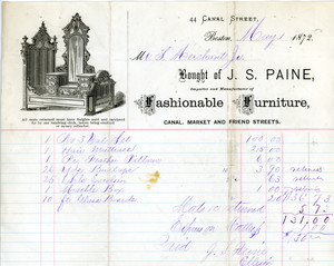Billhead for J.S. Paine, importer and manufacturer of fashionable furniture, 44 Canal St., Boston, Mass., May 1, 1872