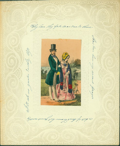 Valentine's Day card, depicting a woman, man, and dog on a country road, undated