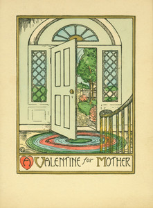 Valentine's Day card, depicting a scene of a front hall and open door of a house, ca. 1923
