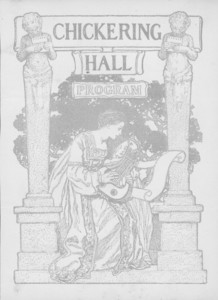 Concert program cover for opening concert at Chickering Hall, Boston, Mass., Feb. 8, 1901