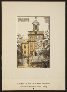 A view of Old West Church : a branch of the Boston Public Library