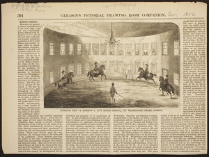 Interior view of Disbrow & Co.'s Riding School, 415 Washington Street, Boston