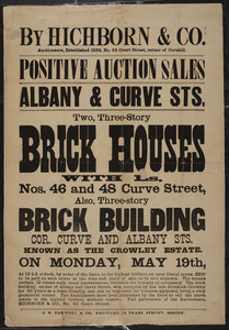 Hichborn & Co., auctioneers, estate sale at Albany & Curve Streets