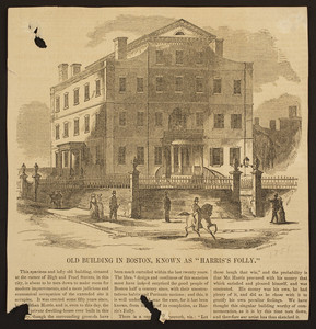 """Old building in Boston, known as """"Harris's Folly"""""""