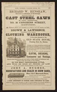 Advertisement for Brown & Lawrence, wholesale and retail clothing warehouse, in the entire basement of the Old State House, fronting State St., Boston, Mass., 1851