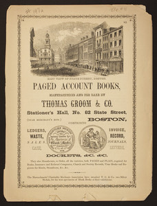 Paged account books, manufactured and for sale By Thomas Groom & Co. and Brown and Lawrence Clothing Warehouse