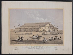 Exterior view of Coliseum for the Grand National Peace Jubilee, Boston, Mass., June 15, 16, 17, 18, 19, 1869
