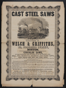 Advertisement for Cast steel saws manufactured by Welch & Griffiths