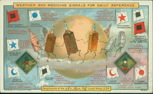 Trade cards for medicines featuring weather and medicine signals for daily reference, J.C. Ayer and Company, Lowell, Mass., 1886
