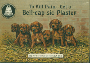 Trade cards for the Bell-Cap-Sic Plaster, J.M. Grosvenor & Company, 50 Pearl Street, Boston, Mass., 1891