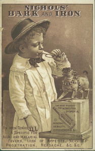 Trade cards for Nichols' Bark and Iron, manufactured by Billings Clapp and Company, Boston, Mass., undated