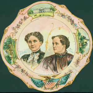 Paper china plate featuring Mrs. McKinley and Mrs. Bryant, 1886
