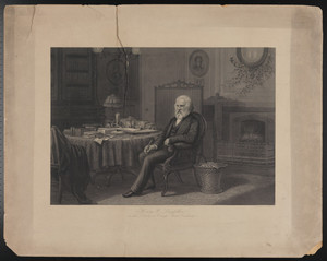 Henry W. Longfellow in his library, Craigie House, Cambridge