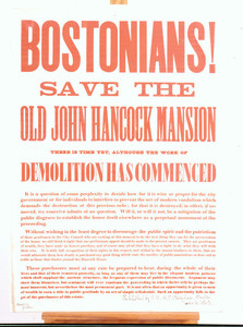 Bostonians! Save the old John Hancock Mansion, Boston, Mass., dated June 6, 1863
