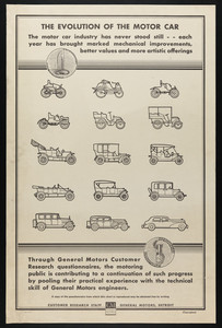 Advertisement for the evolution of the motor car, General Motors, Detroit