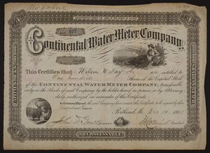 Continental Water Meter Company stock certificate