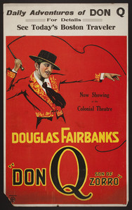"Poster for Douglas Fairbanks in ""Don Q Son of Zorro,"" Boston, Mass., 1925"