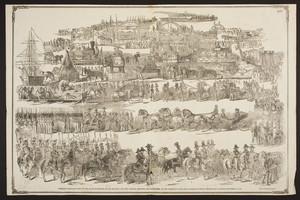 Splendid panoramic view of the Grand Procession of the military, and arts, trades, societies, and professions on the occasion of the Great Railroad Jubilee